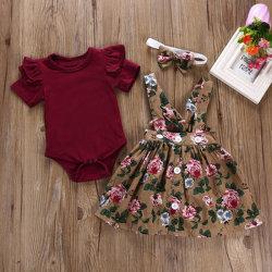 Горячая продажа детей маленьких девочек красного платья Top 2 ПК на базе набора детей цветок комплектов одежды