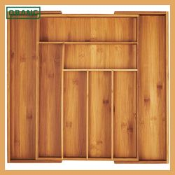 Organiseur de tiroir haute capacité de couverts et ustensiles de cuisine de bambou à 100 % de la Coutellerie le bac
