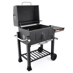 Giardino patio Charcoal Grill Portable BBQ Smoker Grill Square Trolley Griglia in ghisa