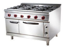 Het Gasfornuis van de Apparatuur van de Keuken van het restaurant met de Elektrische Oven van 6 Brander
