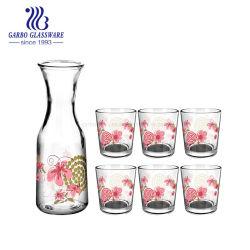 L'impression personnalisée 7PCS de boire de la Verrerie Jar avec CUPS Ensemble de l'eau Bouteille de verre