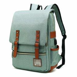 Mochila notebook Slim com porta de carregamento USB, Vintage resistente ao rasgo Saco de negócios para viagens, Colégio, escola, Daypacks casual para o homem, as mulheres