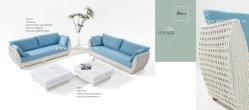 Viaje en el exterior de tejido de mimbre sofá y mesa de café de aluminio