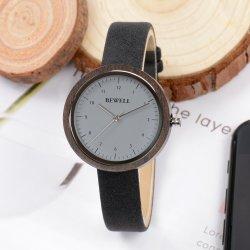 Quatre couleurs bois sangle en cuir avec mouvement à quartz watch