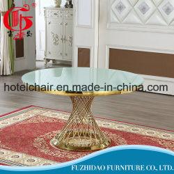 Restaurante de luxo Hotel Jantar de Casamento Banquetes Mobiliário Eventos Mesa Redonda com revestimento superior em vidro