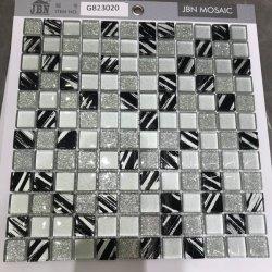 Jbn mixte en verre noir et argent Salle de Bains Cuisine Feuille de carreaux de mosaïque