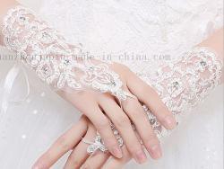 Bruids Handschoenen van het Huwelijk van het Kant van de Manier van de douane de Witte Rode Korte