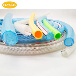 Transparente de PVC flexível de borracha reforçado trançado de fibra de poliéster reforçado trançado com mangueira de PVC mangueira de jardim do tubo de água potável