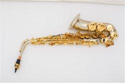 Profesional chapado en plata de alto el saxofón, fabricado en China, mayorista de Instrumentos Musicales