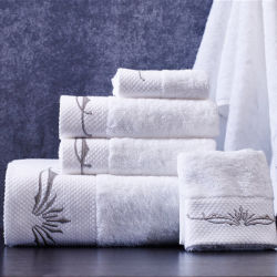 Les serviettes de bain en coton blanc doux Couleur Broderie serviettes Hand-Feeling Hôtel