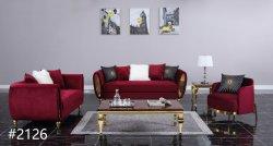 El bastidor de madera maciza sofás de terciopelo con tela con acero inoxidable para Sala muebles modernos.