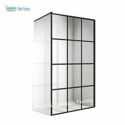 CE قسم هانغتشو زجاج أسود مخطط قبعة قطع من الألومنيوم غرفة دش مربع مع مرحاض