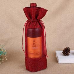Personalize os sacos de vinho por grosso de estopa de algodão Juta Garrafa de Vinho Saco para roupa suja