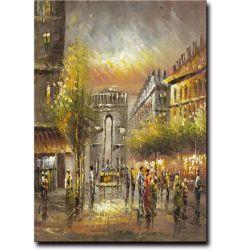 Hotel&Homdeの装飾的な壁の芸術のパリの通りのバックラムの油絵