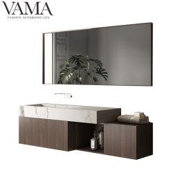 Vama travando 60 Polegadas folheado de madeira armário de casa de banho moderna com superfície sólida Basin Lb-004