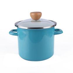 エナメルの倍のハンドルのふたカラーの鋼鉄標準的な鍋の高いレストランの金属の鍋