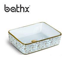 Высокое качество художественных мрамором ванная комната Electroplated керамическая раковина выше борьбы с бассейнами туалет радиатора процессора