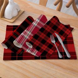 Decoración de Navidad mayorista de ropa de algodón de cuadros escoceses Placemat viento nórdico Non-Slip aislamiento Cocina Mat