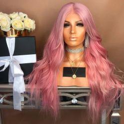 Rosa de encaje ondulado Largo de fibra sintética Wowen Halloween Cosplay peluca con diseño personalizado
