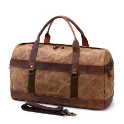 Diseño de nuevo lienzo encerado Bolsa de viaje personalizada Cuero Cuero hombres Duffel Bag (RSF-8826)