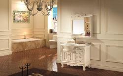 تصميم تحفى ذو خزانة حمام ذات حوض مفرد مصنوع يدويا من الخشب الصلب
