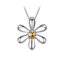 La collana Pendant del fiore dell'argento sterlina 925 ha creato il commercio all'ingrosso arancione dei monili di modo dello zaffiro