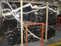 고품질 실내 지면 벽 훈장 프로젝트를 위한 자연적인 돌 Polished 터어키 까만 로즈 백색 정맥 대리석 석판