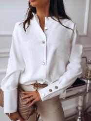Lujoso Chiffon sólido de la moda Tops camisetas de manga larga mujer blusas (A0098)