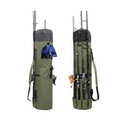 حقيبة سفر متينة من قماش صيد السمك مع قضيب بكرة منظم حقيبة العلبة