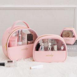 Mode Luxus wasserdichte Halter transparent Toiletry Pouch PU & Clear PVC Promotion Kosmetische Make-Up-Tasche