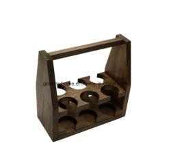 Square manchadas de marrón de la cerveza de madera tallada en madera Carrier Caddy Organizador