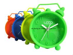 Mini sveglie della Tabella di colore fluorescente del gemello della Bell di Snooze del silicone infrangibile del muto