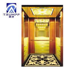Máquina de 6 personas ascensor con pasajero Roomless Titanio dorado de la cabina de grabado