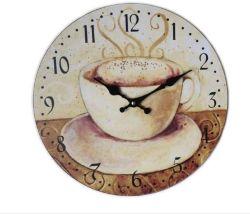 コーヒーダイヤルMDFの円形の柱時計の木製のクロック34X34