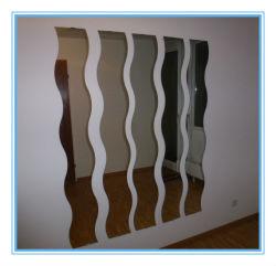 Форма волны серебряным покрытием стекло зеркала заднего вида для установки на стене оформление