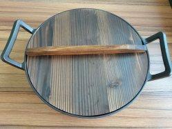 Китай чугунные большого размера сковороде вок с крышкой из дерева