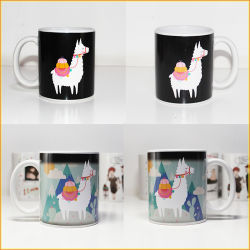 El cambio de color taza taza de café de cerámica taza mágica calor revelan tazas para regalo