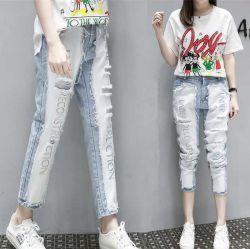Stock de cintura alta mujer Denim Jeans bien el lavado de ropa de moda Jeans para mujeres Casual Jeans Rip Señoras Hip Hop pantalones de mezclilla pantalones agujero utiliza prendas de jeans