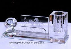 Кристально чистый держатель пера данные органайзера с часами