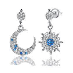 De in het groot Juwelen van de Oorringen van 925 Echte Zilveren van Juwelen Blauwe van CZ Maan en van de Ster voor Meisjes