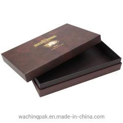 럭셔리 브라운 판지 선물 상자 스페셜 종이 목 스타일 박스 핫 스탬프 로고 인쇄