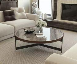 Страны Северной Европы современной гостиной мебели круглые деревянные MDF кофейный столик с металлической ноге