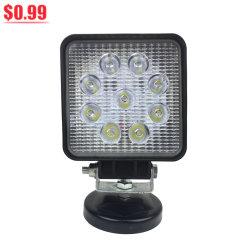 방수 높은 루멘 LED 일 램프를 작동되는 둥근 사각 4 인치 LED 일 램프 27W 9 LED 차 트랙터 트럭