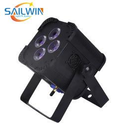 Novo Mini 4*18W 6NO1 Rgbaw UV LED operados por bateria PAR Projector de platina com luz