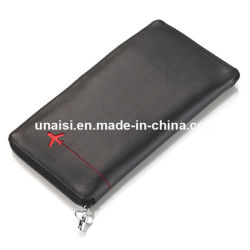 Pasaporte de Viaje de cuero de protección de RFID de largo monedero con bolígrafo soporte