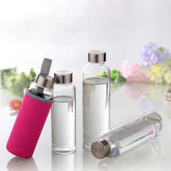 Botellas de agua de cristal 6 Pack Deluxe Set 19oz - Incluye 6 mangas. Las tapas de acero inoxidable - Kombucha, jugo, té