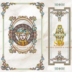 浴室の壁の装飾のための標準的なVersaceデザインステンドグラスのモザイク模様の芸術作品
