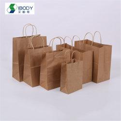 Embleem 100% van de douane de Rekupereerbare het Winkelen Zak van het Document van Kraftpapier van de Zak van de Kruidenierswinkel van het Document van Kraftpapier van de Gift Bruine met Handvat