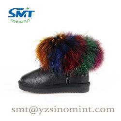 Nouvelle arrivée de la fourrure colorée en cuir de vache peau de mouton bottes de neige pour les filles