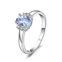 Birthstone véritable ciel ovale Topaze Bleue anniversaire bague de mariage 925 Sterling Silver Jewellery